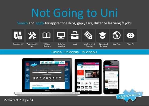 Not Going to Uni Search and apply for apprenticeships, gap years, distance learning & jobs  Traineeships  Apprenticeshi ps...