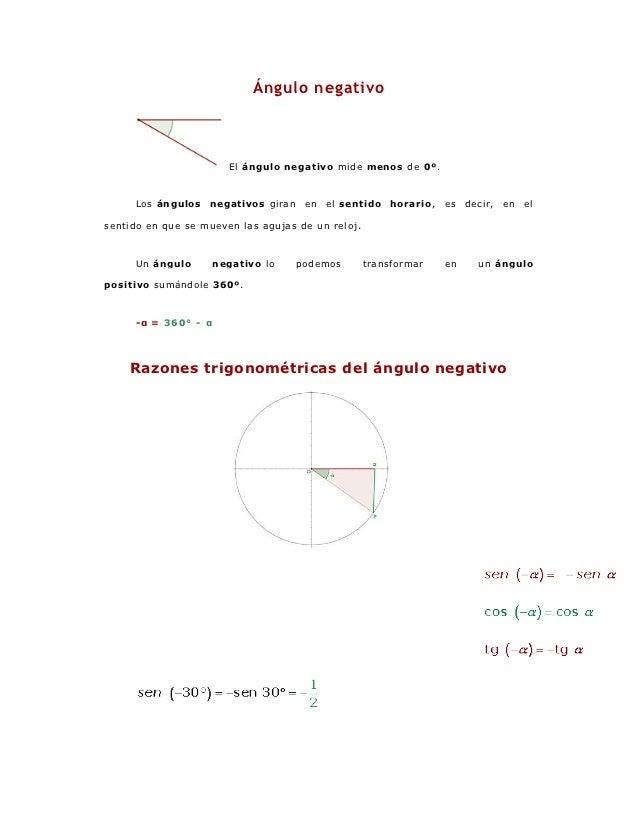 Ángulo negativo                       El ángulo negativo mide menos de 0º.     Los ángulos    negativo s giran    en   el ...