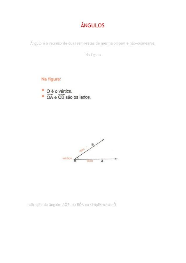 ÂNGULOS  Ângulo é a reunião de duas semi-retas de mesma origem e não-colineares.                                 Na figura...