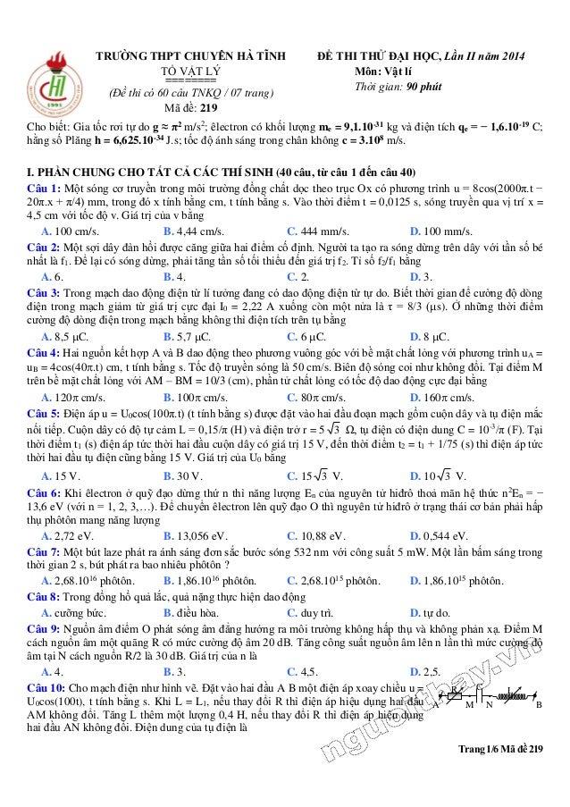 Trang 1/6 Mã đề 219 TRƯỜNG THPT CHUYÊN HÀ TĨNH TỔ VẬT LÝ ======== (Đề thi có 60 câu TNKQ / 07 trang) Mã đề: 219 ĐỀ THI THỬ...