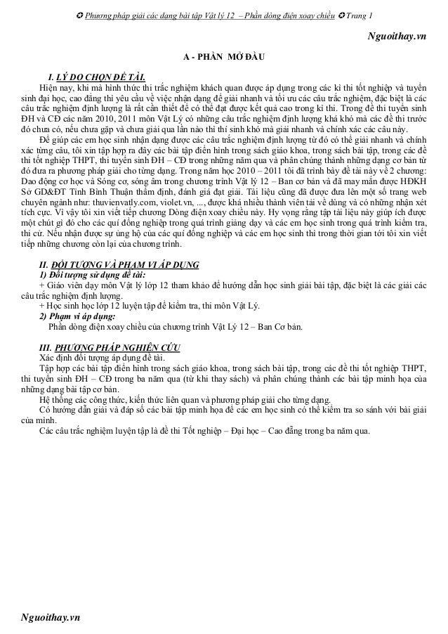  Phương pháp giải các dạng bài tập Vật lý 12 – Phần dòng điện xoay chiều  Trang 1Nguoithay.vnNguoithay.vnA - PHẦN MỞ ĐẦU...