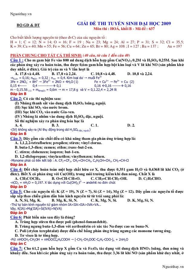 Nguoithay.vnNguoithay.vnBỘ GD & ĐT GIẢI ĐỀ THI TUYỂN SINH ĐẠI HỌC 2009Môn thi : HOÁ, khối B - Mã đề : 637Cho biết khối lượ...