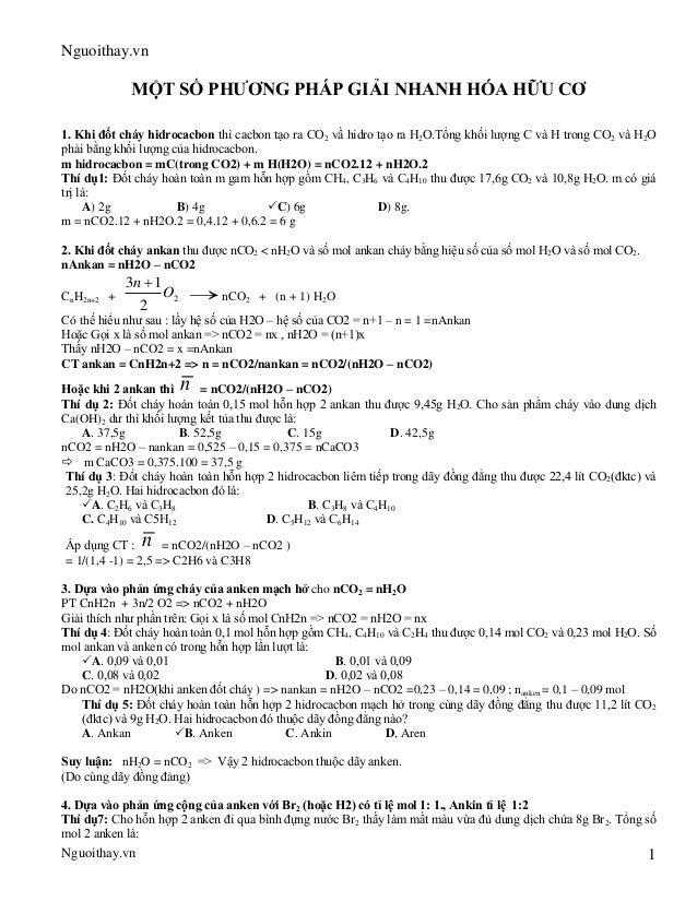 Nguoithay.vnNguoithay.vn 1MỘT SỐ PHƯƠNG PHÁP GIẢI NHANH HÓA HỮU CƠO2 2O T O2 2Om hidrocacbon = mC(trong CO2) + m H(H2O) = ...