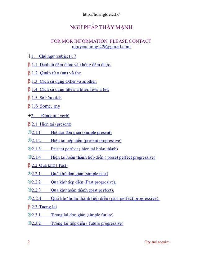 http://hoangtoeic.tk/                           NGỮ PHÁP THẦY MẠNH              FOR MOR INFORMATION, PLEASE CONTACT       ...