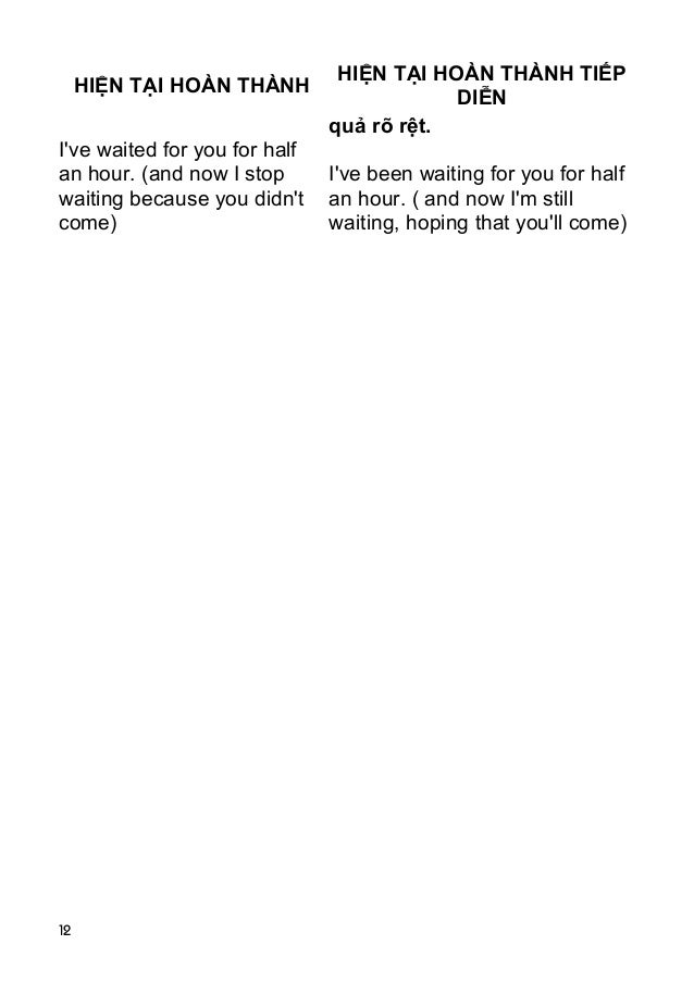 12 HIỆN TẠI HOÀN THÀNH HIỆN TẠI HOÀN THÀNH TIẾP DIỄN I've waited for you for half an hour. (and now I stop waiting because...