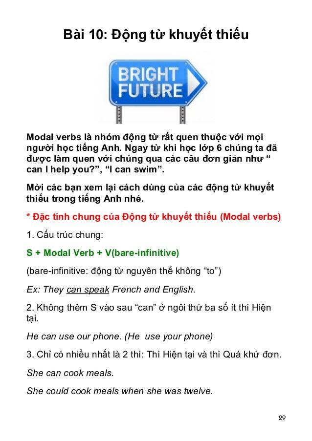 29 Bài 10: Động từ khuyết thiếu Modal verbs là nhóm động từ rất quen thuộc với mọi người học tiếng Anh. Ngay từ khi học lớ...