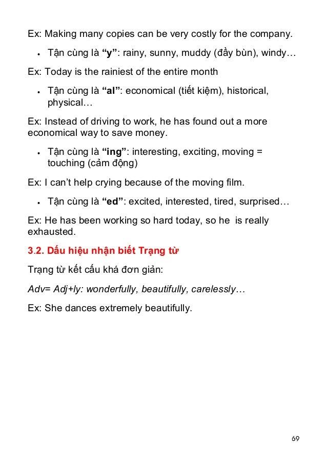 "69 Ex: Making many copies can be very costly for the company.  Tận cùng là ""y"": rainy, sunny, muddy (đầy bùn), windy… Ex:..."