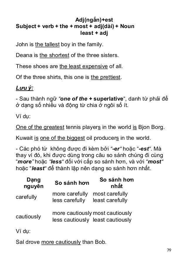 79 Subject + verb + the + Adj(ngắn)+est most + adj(dài) least + adj + Noun John is the tallest boy in the family. Deana is...