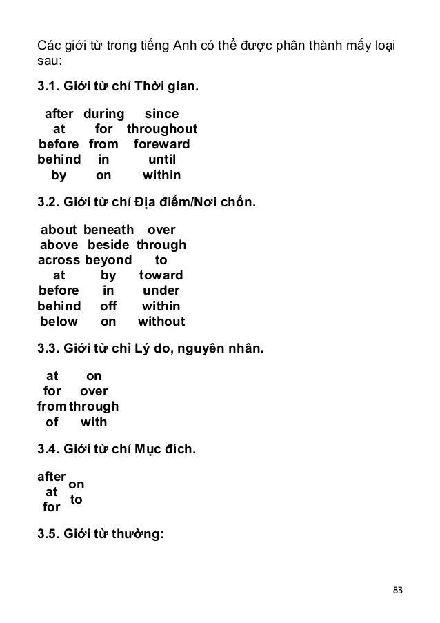 83 Các giới từ trong tiếng Anh có thể được phân thành mấy loại sau: 3.1. Giới từ chỉ Thời gian. after at before behind by ...