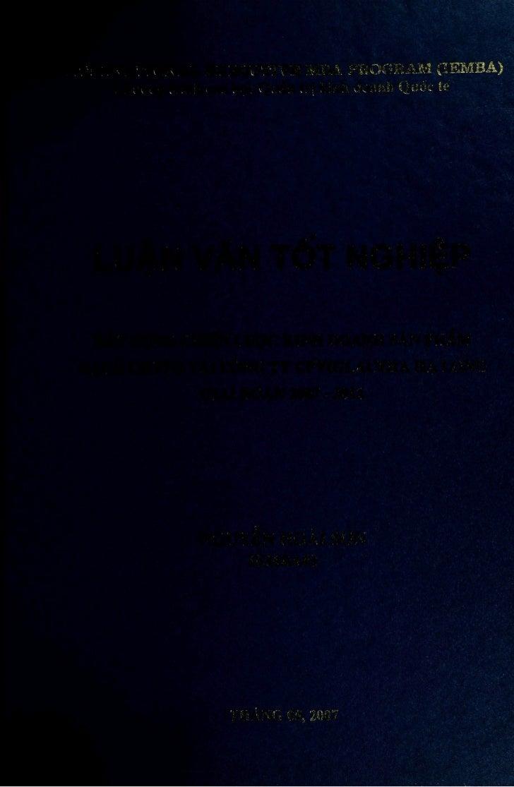 INTERNATIONAL EXECUTIVE MBA PROGRAM (leMBA)     Chirang trình cao hoc Quàn tri kinh doanh Quoc teLUÀN VAN TÒT NGHIÉP XAY D...