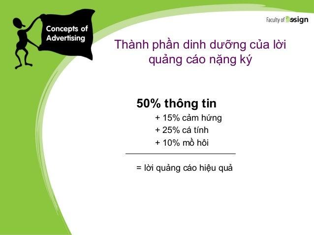 Thành phần dinh dưỡng của lời quảng cáo nặng ký 50% thông tin + 15% cảm hứng + 25% cá tính + 10% mồ hôi = lời quảng cáo hi...