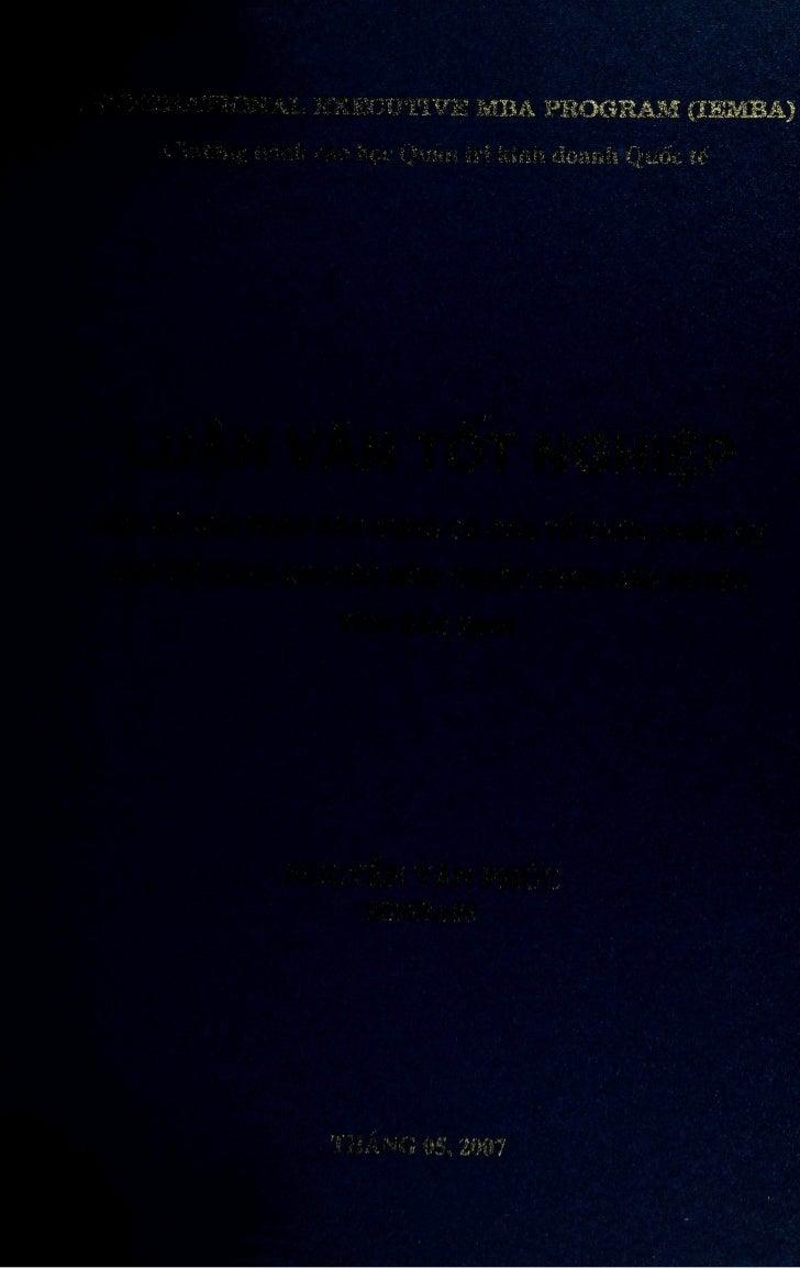 INTERNATINONAL EXECUTIVE MBA PROGRAM (leMBA)     Chirong trînh Cao hoc Quàn tri Kinh doanh Quôc têLUÂN VAN TÔT NGHIÊPMOT S...