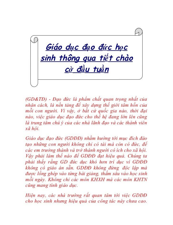 Giáo dục đạo đức học      sinh thông qua tiết chào             cờ đầu tuần(GD&TĐ) - Đạo đức là phẩm chất quan trọng nhất c...