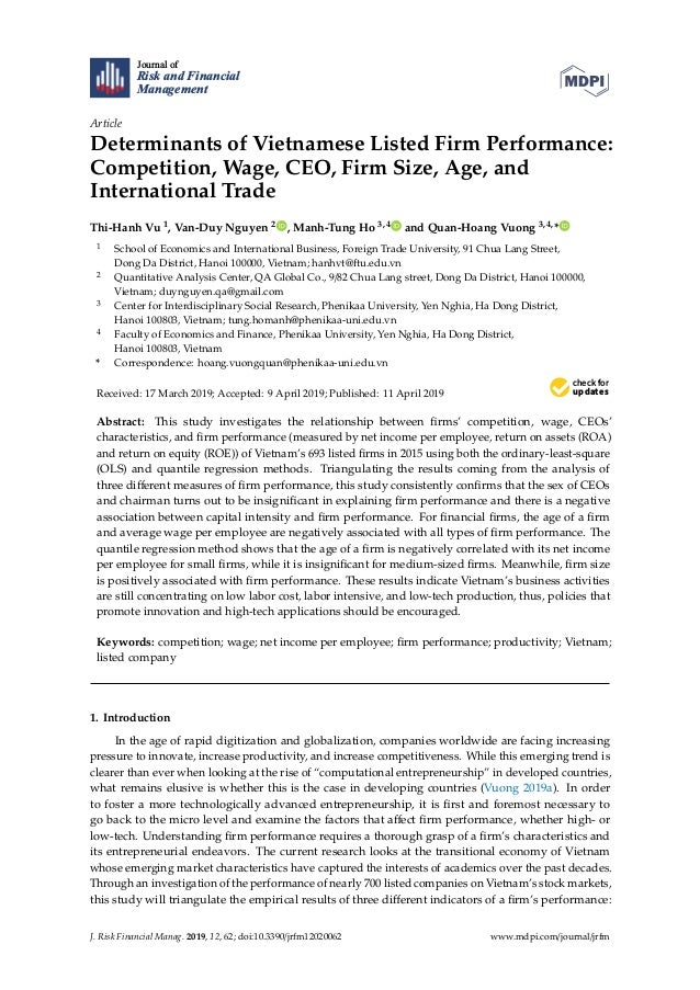 Journal of Risk and Financial Management Article Determinants of Vietnamese Listed Firm Performance: Competition, Wage, CE...