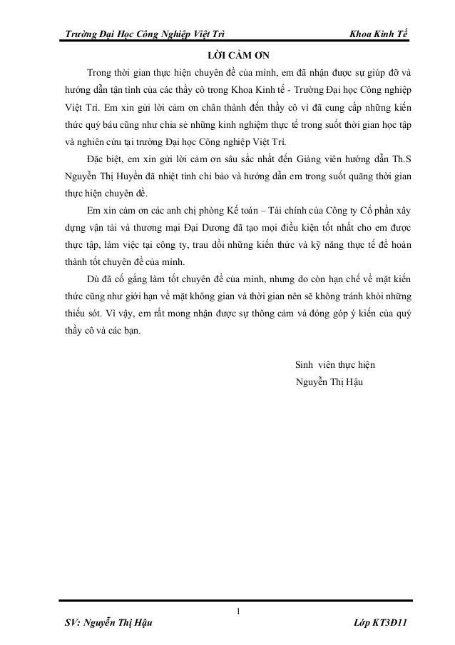 Trường Đại Học Công Nghiệp Việt Trì Khoa Kinh Tế LỜI CẢM ƠN Trong thời gian thực hiện chuyên đề của mình, em đã nhận được ...