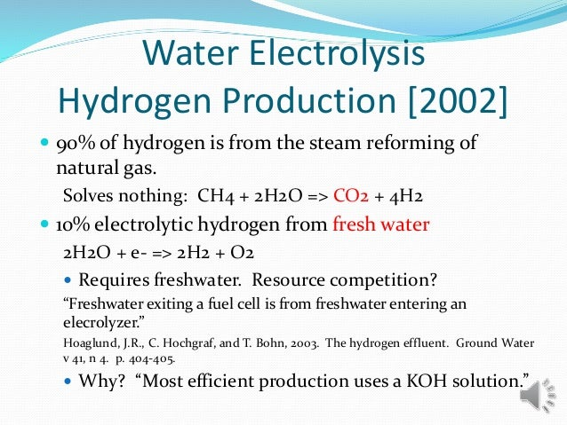 Water Electrolysis Hydrogen Production [2002]  90% of hydrogen is from the steam reforming of natural gas. Solves nothing...