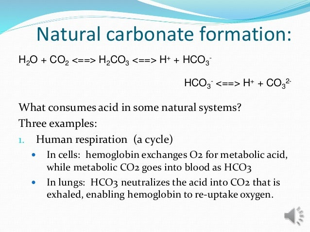 Natural carbonate formation: What consumes acid in some natural systems? Three examples: 1. Human respiration (a cycle)  ...