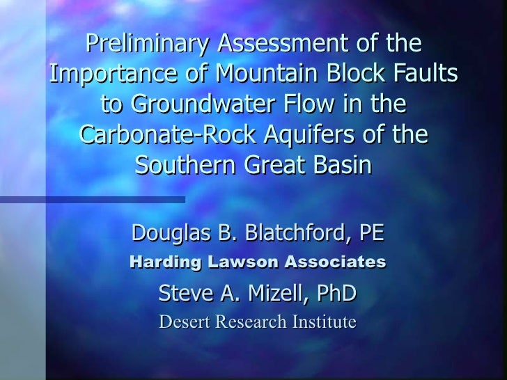 Preliminary Assessment of the Importance of Mountain Block Faults to Groundwater Flow in the Carbonate-Rock Aquifers of th...