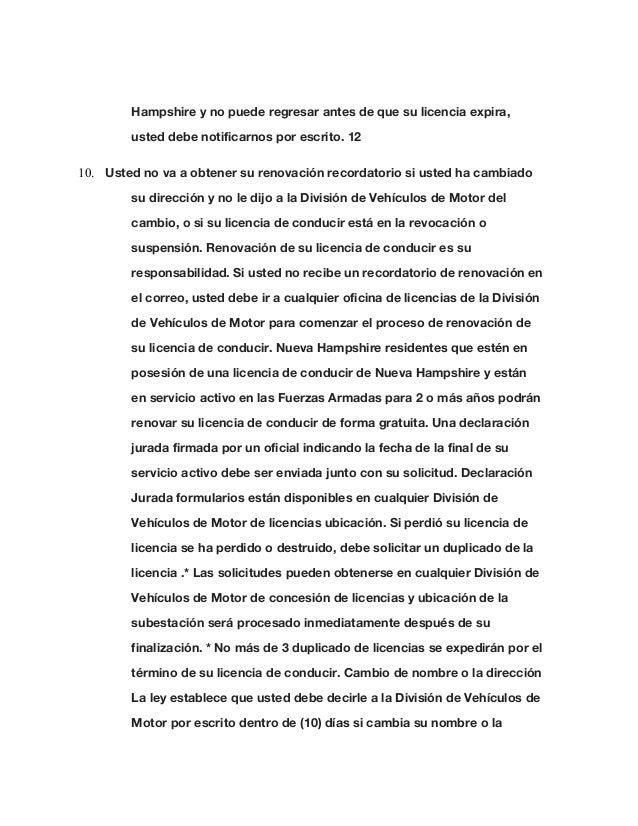 Nh Driver Manual Spanish