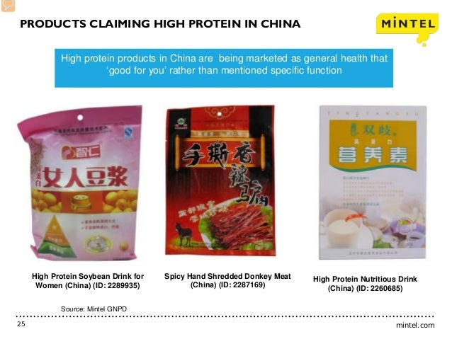 mintel.com25 High protein products in China are being marketed as general health that 'good for you' rather than mentioned...