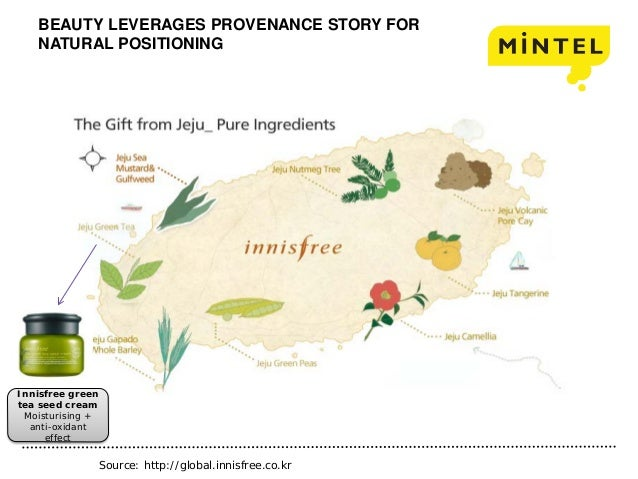 BEAUTY LEVERAGES PROVENANCE STORY FOR NATURAL POSITIONING Innisfree green tea seed cream Moisturising + anti-oxidant effec...