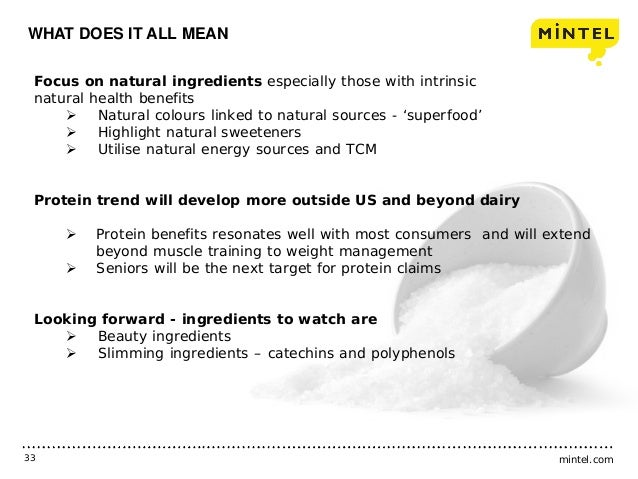 mintel.com33 WHAT DOES IT ALL MEAN Focus on natural ingredients especially those with intrinsic natural health benefits  ...