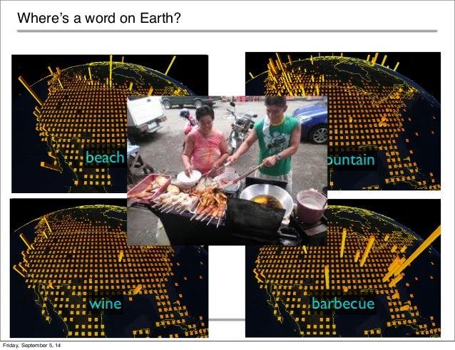 Where's a word on Earth?  beach mountain  wine barbecue  © 2013 Jason M Baldridge Text Analytics Summit, June 2013  Friday...