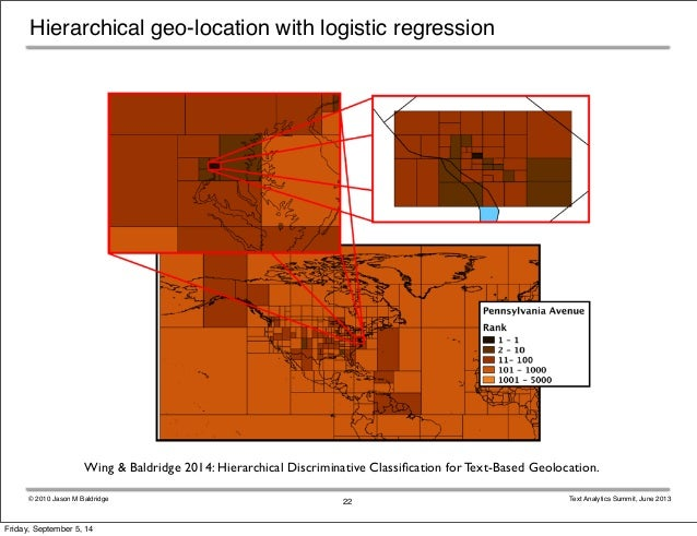 Hierarchical geo-location with logistic regression  Wing & Baldridge 2014: Hierarchical Discriminative Classification for ...