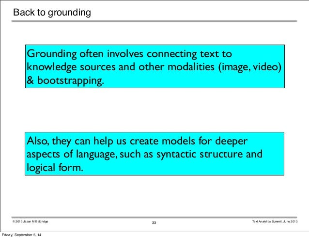 Back to grounding  Grounding often involves connecting text to  knowledge sources and other modalities (image, video)  & b...