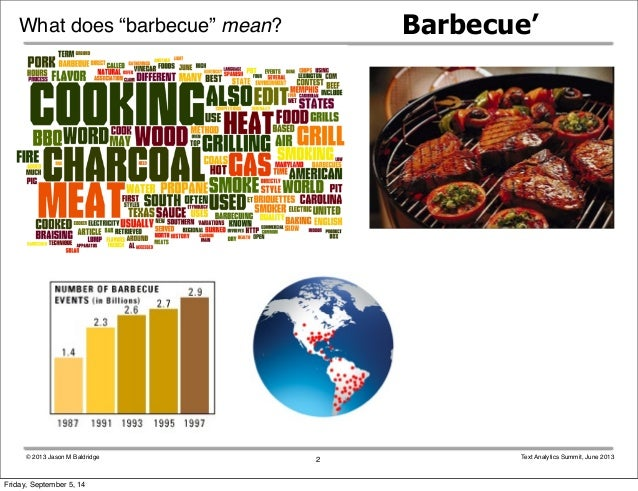 """What does """"barbecue"""" mean? Barbecue'  © 2013 Jason M Baldridge Text Analytics Summit, June 2013  2  Friday, September 5, 1..."""