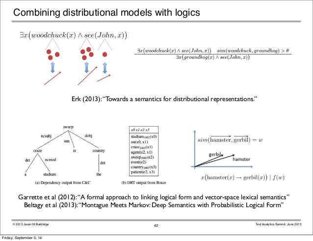 "Combining distributional models with logics  Erk (2013): ""Towards a semantics for distributional representations.""  Garret..."