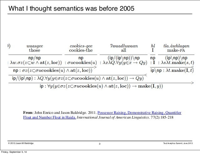 What I thought semantics was before 2005  From: John Enrico and Jason Baldridge. 2011. Possessor Raising, Demonstrative Ra...