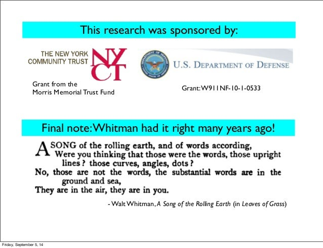 This research was sponsored by:  Grant from the Grant: W911NF-10-1-0533  Morris Memorial Trust Fund  Final note: Whitman h...
