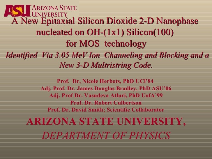 A New Epitaxial Silicon Dioxide 2-D Nanophase  nucleated on OH-(1x1) Silicon(100)  for MOS  technology   Identified  Via 3...