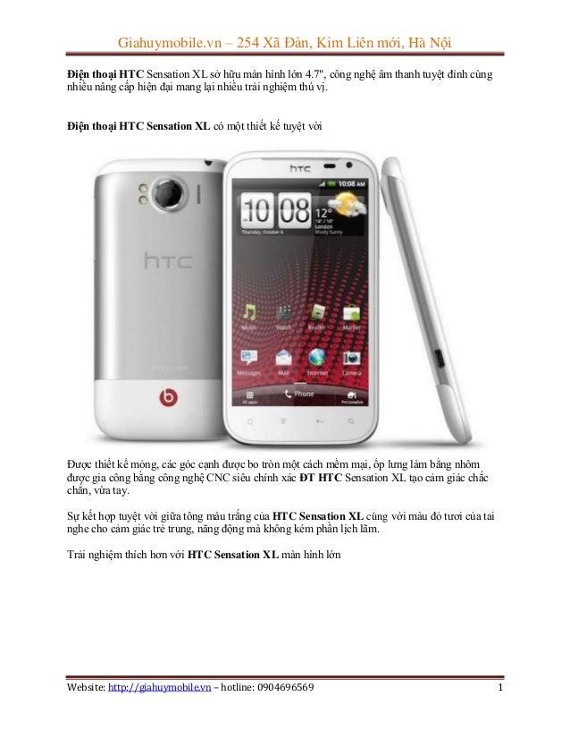 """Giahuymobile.vn – 254 Xã Đàn, Kim Liên mới, Hà Nội Điện thoại HTC Sensation XL sở hữu màn hình lớn 4.7"""", công nghệ âm than..."""