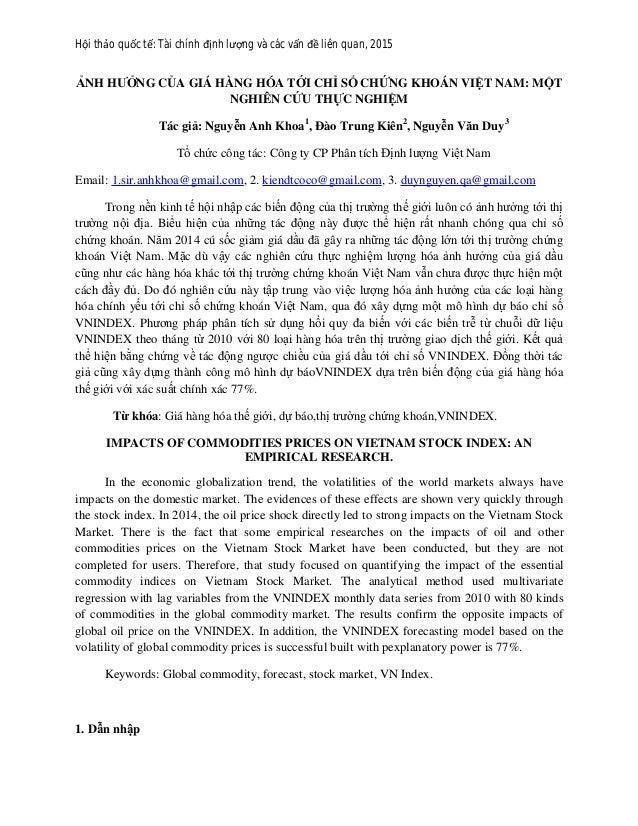 Hội thảo quốc tế: Tài chính định lượng và các vấn đề liên quan, 2015 ẢNH HƯỞNG CỦA GIÁ HÀNG HÓA TỚI CHỈ SỐ CHỨNG KHOÁN VIỆ...