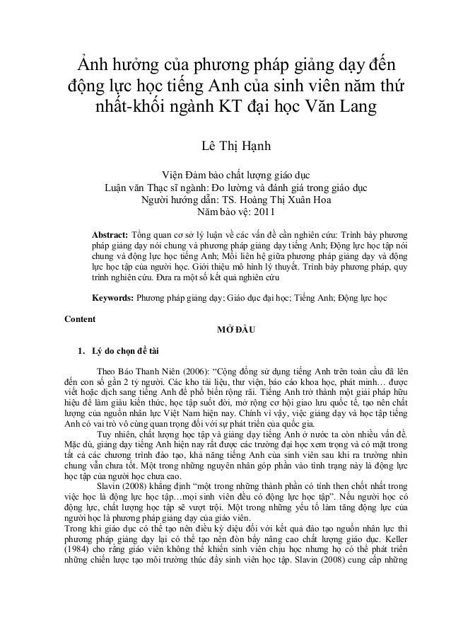 Ảnh hưởng của phương pháp giảng dạy đến động lực học tiếng Anh của sinh viên năm thứ nhất-khối ngành KT đại học Văn Lang L...