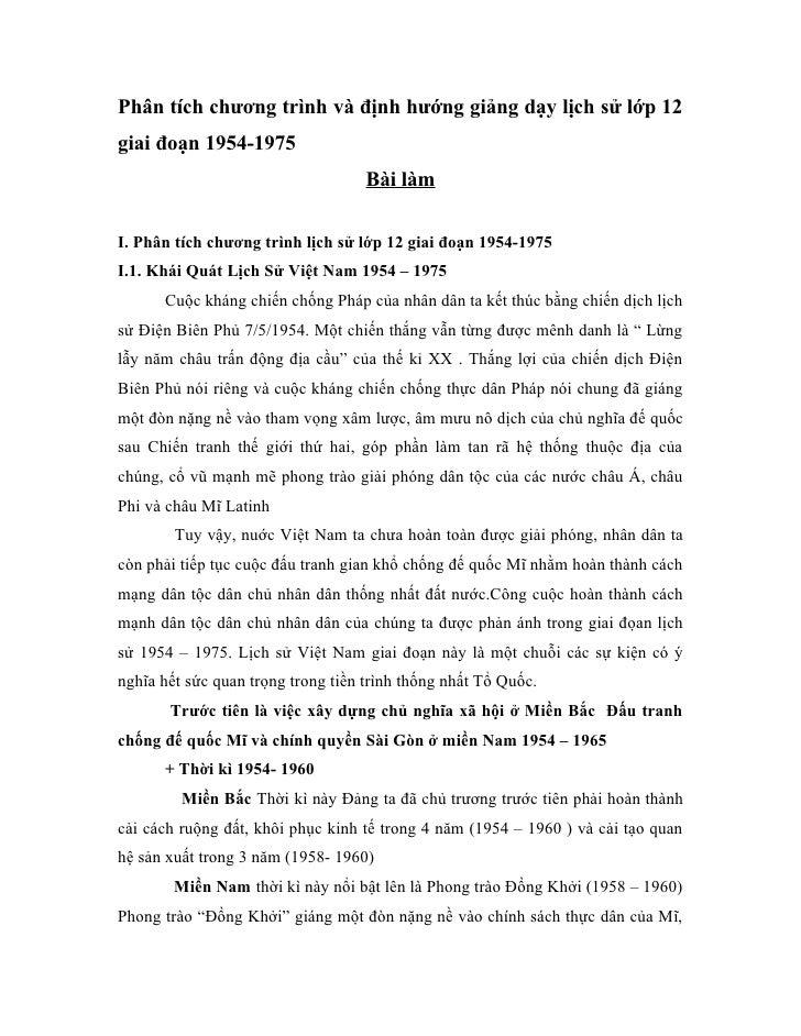 Phân tích chương trình và định hướng giảng dạy lịch sử lớp 12giai đoạn 1954-1975                                    Bài là...