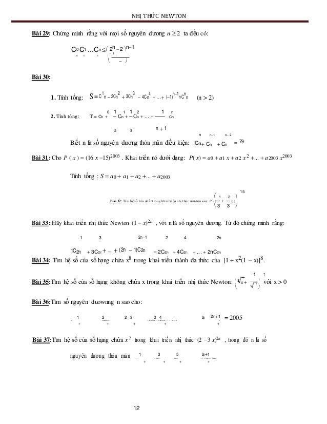 NHỊ THỨC NEWTON Bài 29: Chứng minh rằng với mọi số nguyên dương n  2 ta đều có: C0 C1 ...Cn  2n 2 n1 n n n  n 1 ...