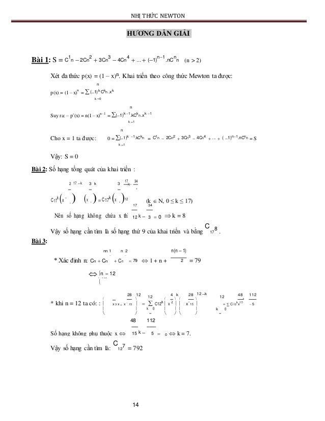 NHỊ THỨC NEWTON HƯƠNG DẪN GIẢI Bài 1: S = C 1 n  2Cn 2  3Cn 3  4Cn 4  ...  (1) n1 .nC n n (n > 2) Xét đa thức p(x) ...