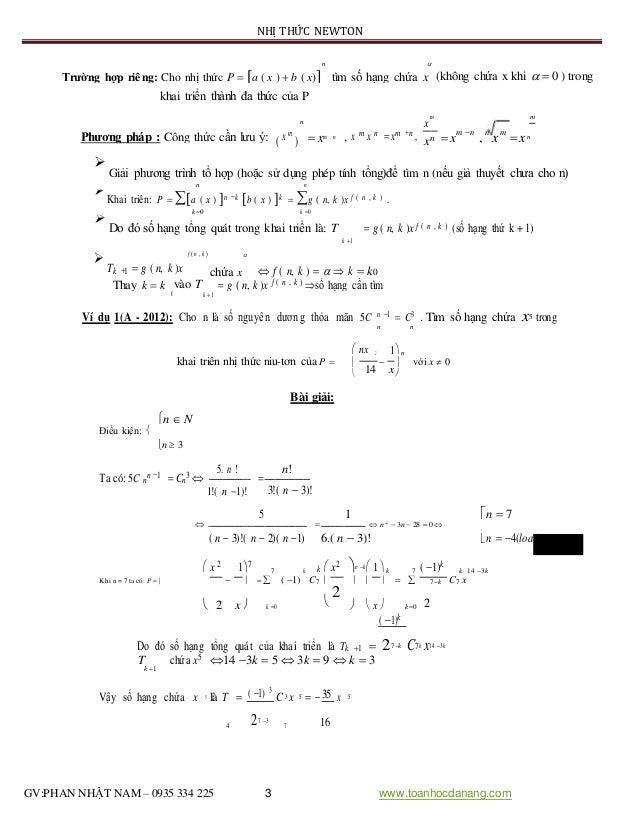 NHỊ THỨC NEWTON n  (không chứa x khi   0 ) trongTrường hợp riêng: Cho nhị thức P  a ( x )  b ( x) tìm số hạng chứa ...