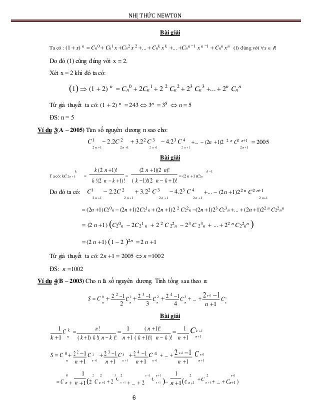 NHỊ THỨC NEWTON Bài giải Ta có : (1  x) n  Cn 0  Cn 1 x Cn 2 x 2 ...  Cn k x k ... Cn n 1 x n 1  Cn n xn (1) đú...