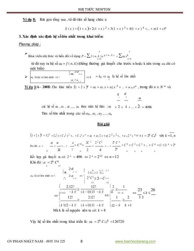 NHỊ THỨC NEWTON Ví dụ 8: Rút gọn tổng sau , từ đó tìm số hạng chứa x: S ( x )  1  x  2(1  x ) 2  3(1  x ) 3  4(1 ...