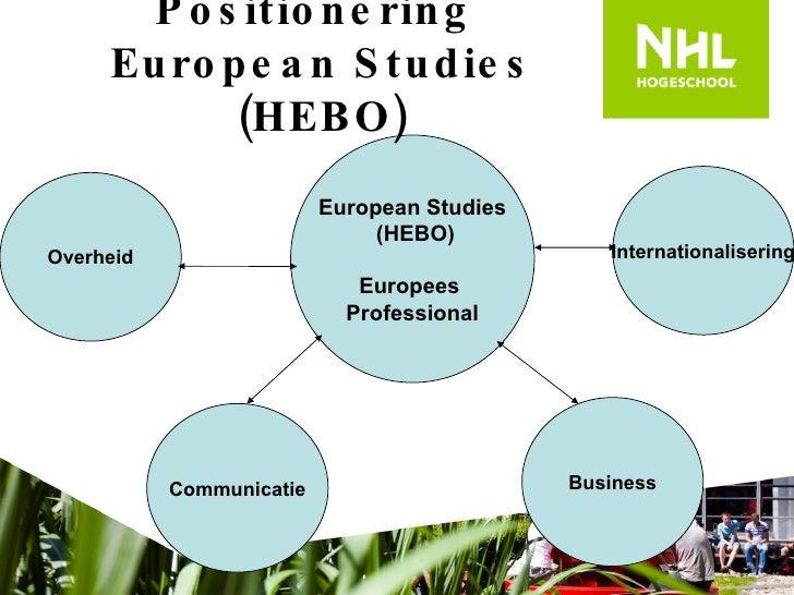 Positionering  European Studies (HEBO) European Studies (HEBO) Europees  Professional Overheid Communicatie Internationali...
