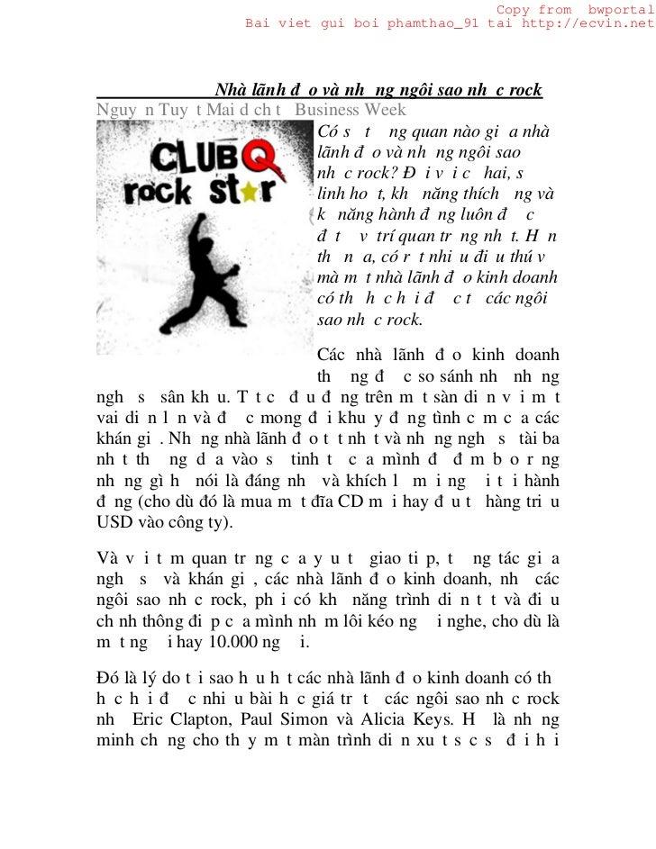Copy from bwportal                   Bai viet gui boi phamthao_91 tai http://ecvin.net              Nhà lãnh đạo và những ...