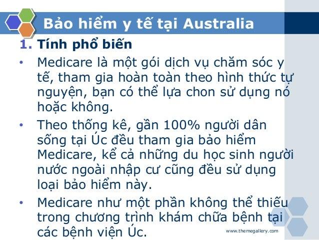 Bảo hiểm y tế tại Australia 1. Tính phổ biến • Medicare là một gói dịch vụ chăm sóc y tế, tham gia hoàn toàn theo hình thứ...