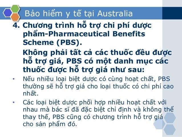 Bảo hiểm y tế tại Australia 4. Chương trình hỗ trợ chi phí dược phẩm-Pharmaceutical Benefits Scheme (PBS). Không phải tất ...