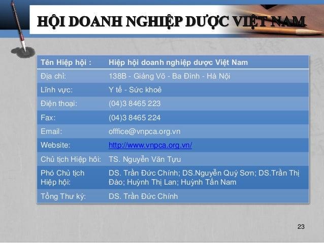 Tên Hiệp hội : Hiệp hội doanh nghiệp dược Việt Nam Địa chỉ: 138B - Giảng Võ - Ba Đình - Hà Nội Lĩnh vực: Y tế - Sức khoẻ Đ...