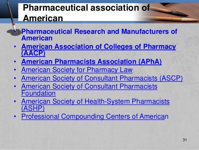 Pharmaceutical association of American • Pharmaceutical Research and Manufacturers of American • American Association of C...