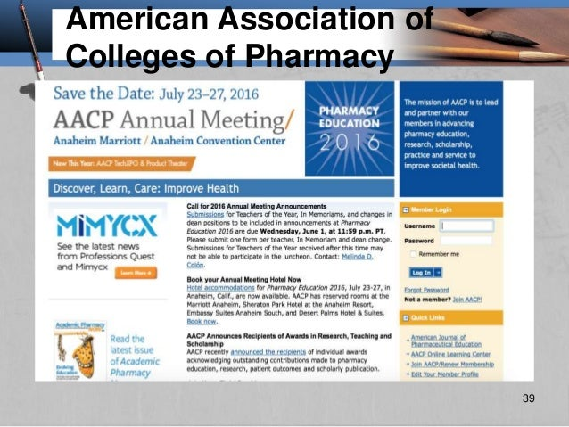 American Association of Colleges of Pharmacy 39